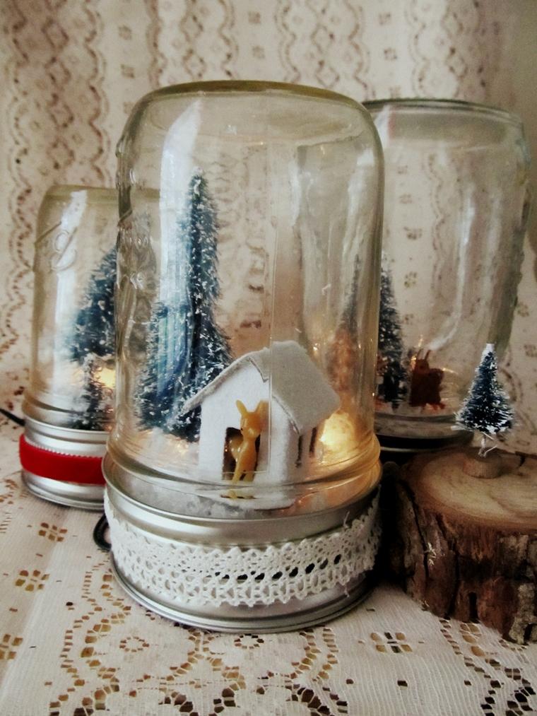decorazioni natalizie fai te utilizzate barattoli candele