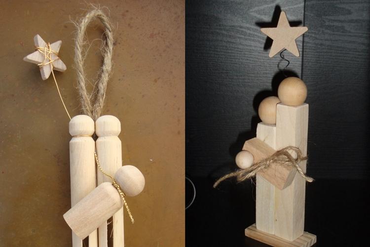 decorazioni natalizie forma giocattoli legno appendere albero natale