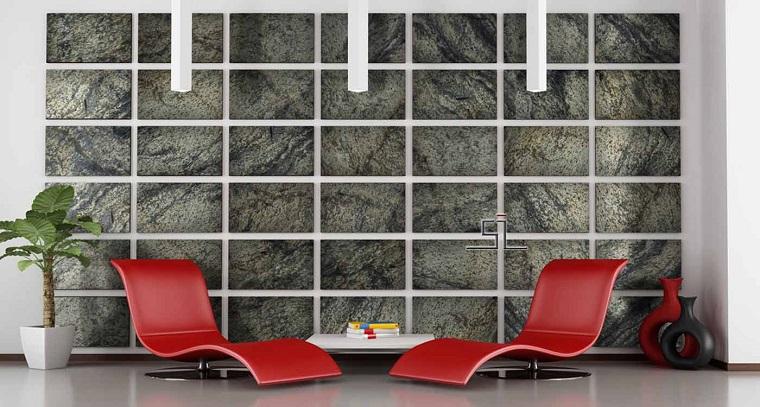 decorazioni pareti zona relax pietre naturali