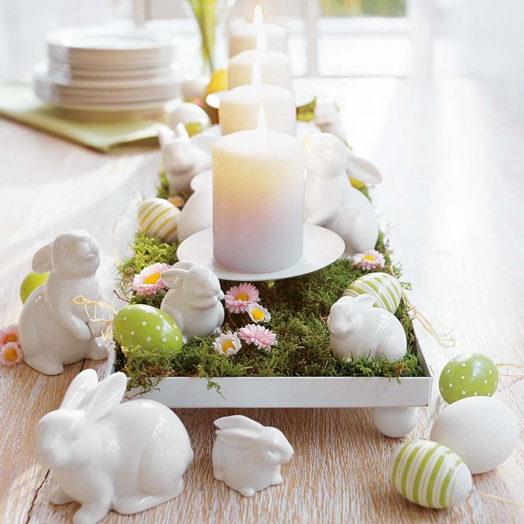 decorazioni pasquali candelle centrotavola coniglietti porcelana