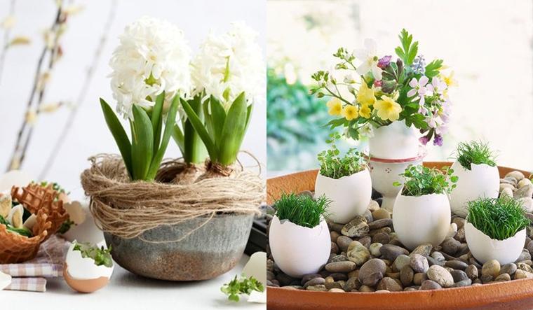 decorazioni pasquali fiori gusci uova