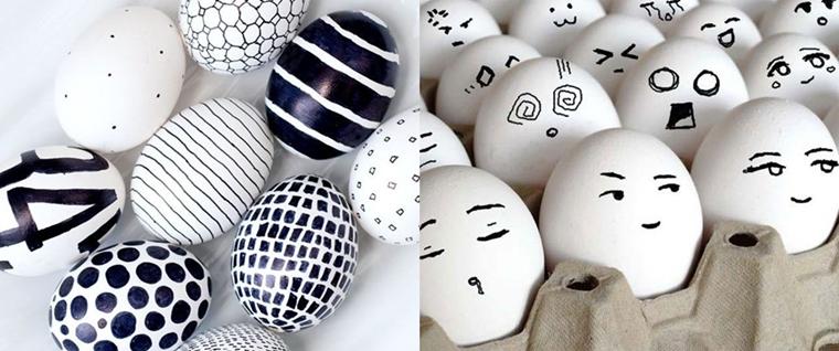 decorazioni pasquali uova decorate pennarello nero