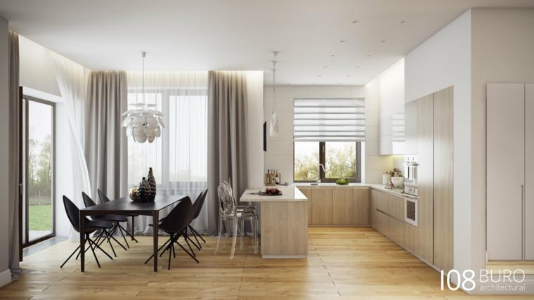 design interno colori caldi cucina porta giardino