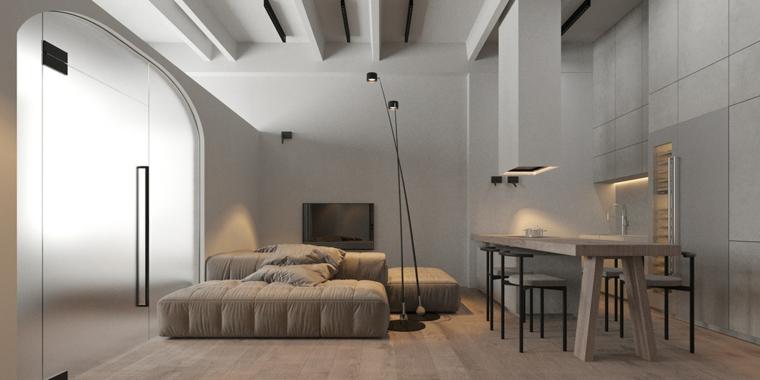 Pareti colorate soggiorno esempi, divano angolare di colore beige, tavolo in legno con sedie