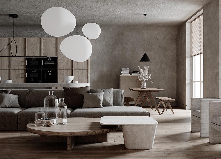 Pareti colorate soggiorno esempi, un divano accanto ad un tavolino rotondo