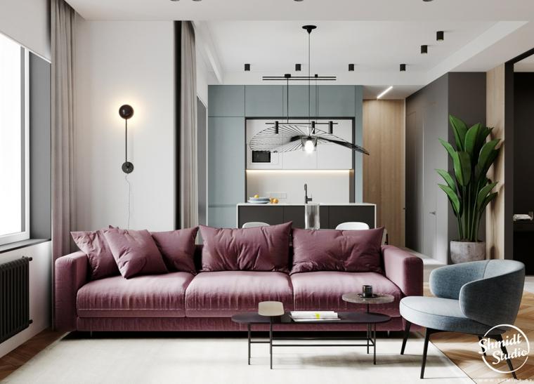 Lampadario sospeso in metallo, come arredare un salotto, divano in tessuto colore rosa