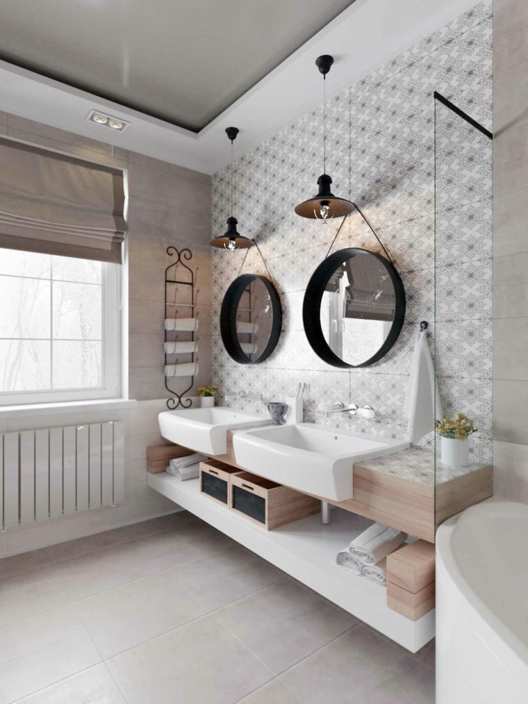 Mobili bagno moderni economici, lavabo da appoggio, due specchi di metallo rotondi