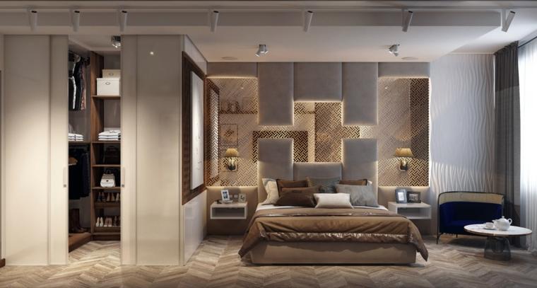 Parete con pannelli, stanza armadio, pavimento in legno, faretti sul soffitto, camere matrimoniali moderne