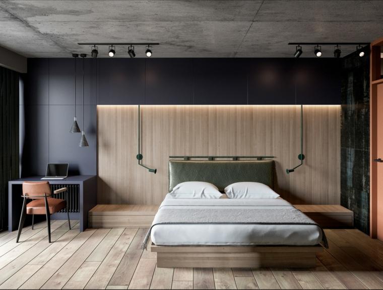 Testata letto in pelle verde, pannello in legno con comodini, lampade in sospensione, camere da letto moderne