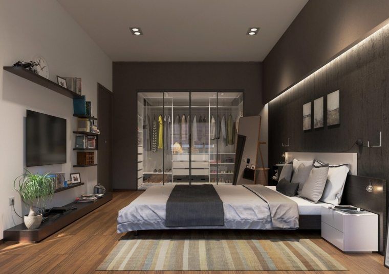 Illuminazione nascosta, armadio a vista, progettare camera da letto, mobile tv basso in legno nero