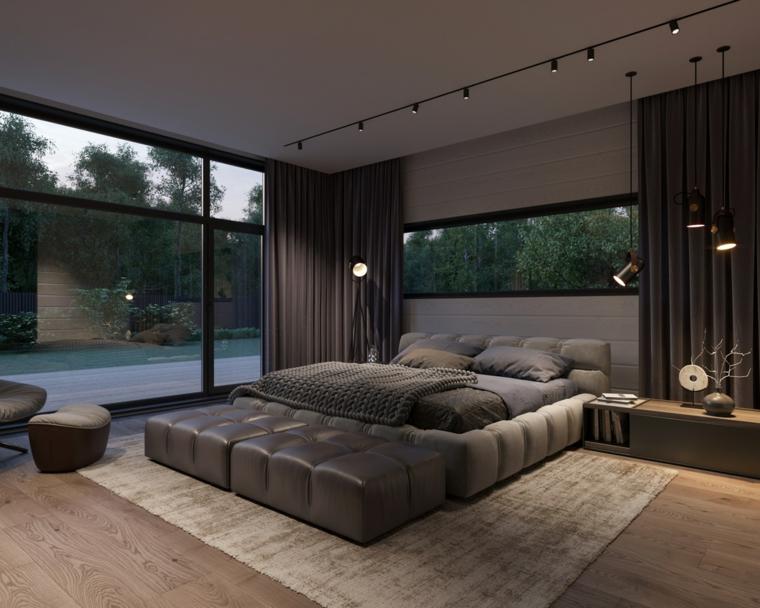 Zona notte con ampie finestre, faretti sul soffitto, tende di colore grigio, lampade in sospensione, progettare camera da letto