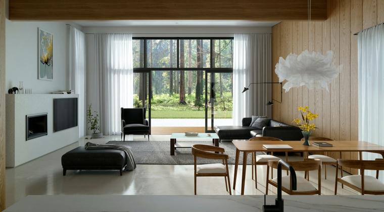Arredare salotto e sala da pranzo insieme, parete con rivestimento in legno
