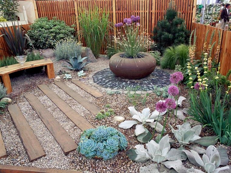ghiaia da giardino piante travi
