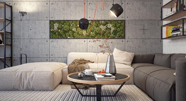 giardino verticale come abbellimento appartamento stile industriale