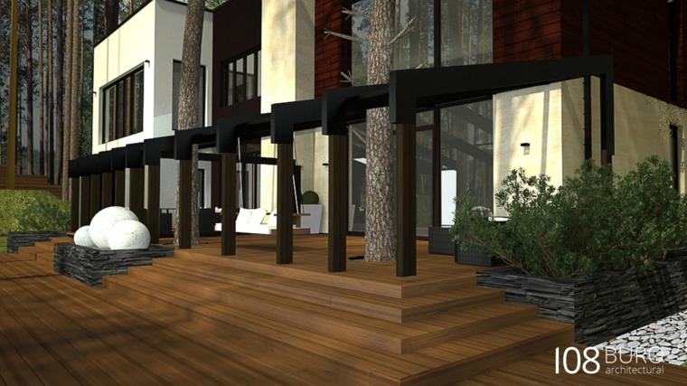 casa scale legno entrata principale albero sassi cespugli