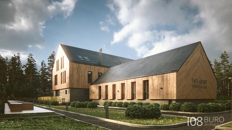 Stile moderno di buro 108 idee per la casa di legno for Tetto della casa moderna