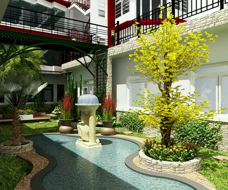 idea decorazione floreale giardino piscina
