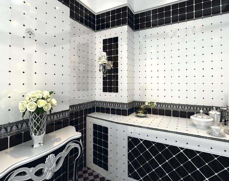 idea piastrelle bianco nero stile elegante