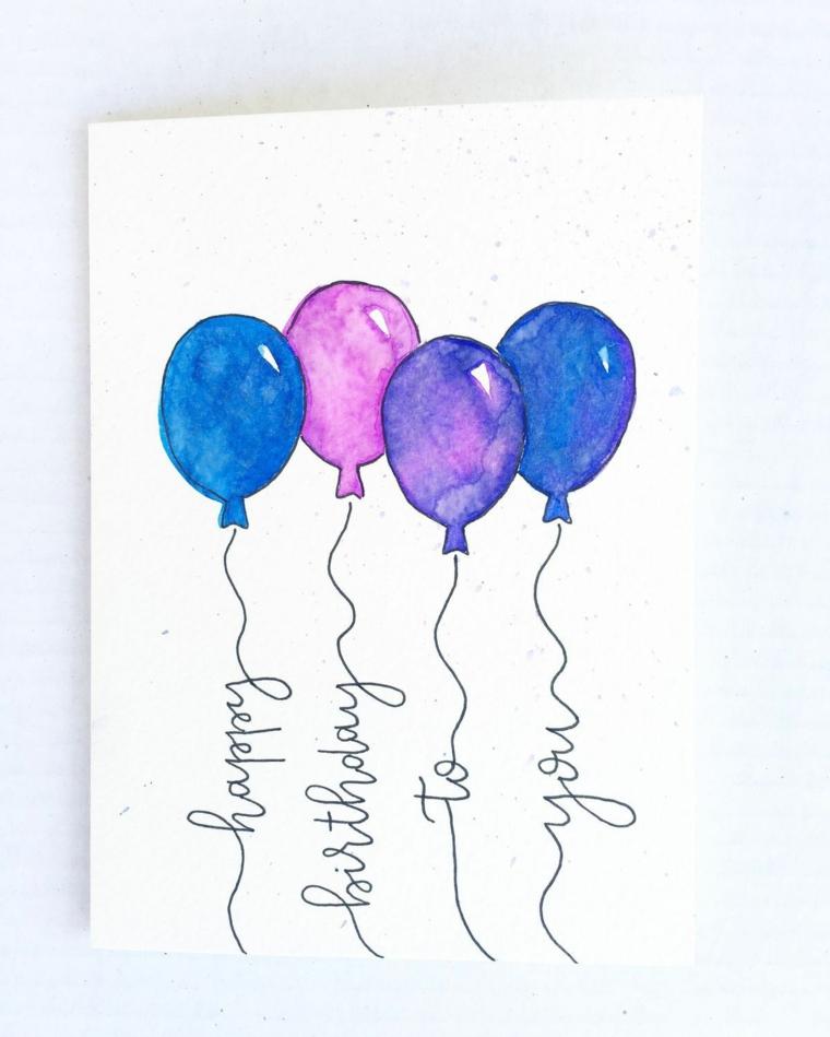 idea regalo per una festa di compleanno bigliettino auguri con disegno palloncini