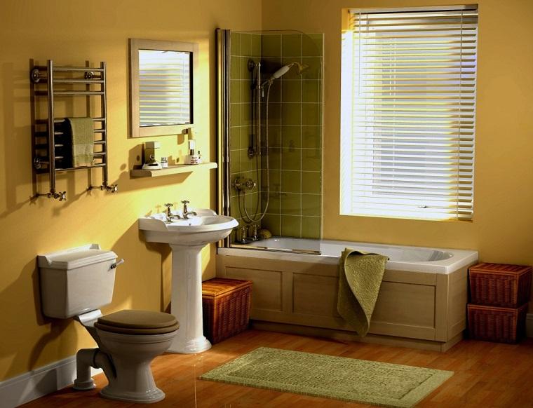 idee bagno pavimento parquet piastrelle verdi doccia