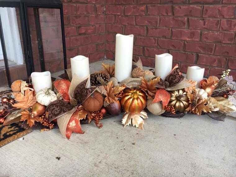 idee fai da te candele foglie secche