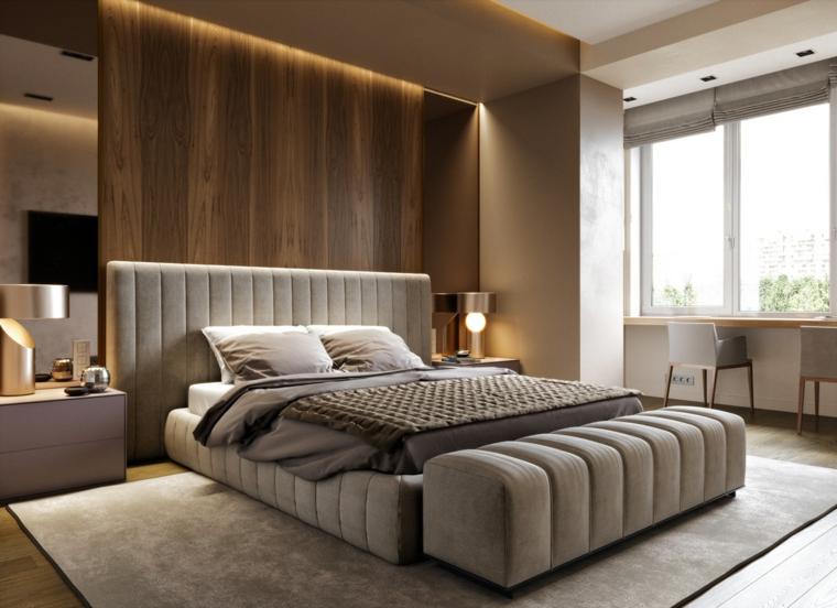 Parete in legno, illuminazione nascosta, testata letto in tessuto imbottito, camere da letto matrimoniali moderne