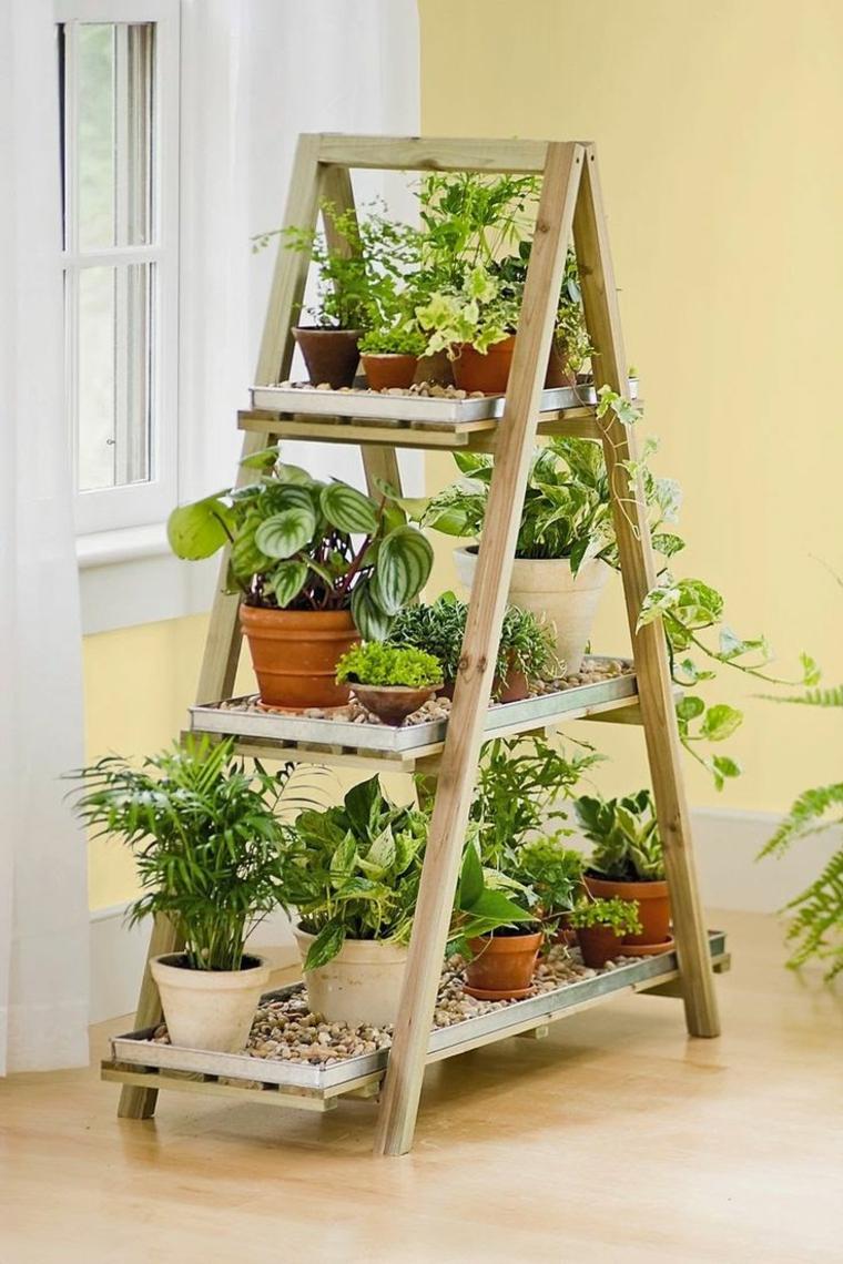 idee per il giardino semplici scala legno fiori