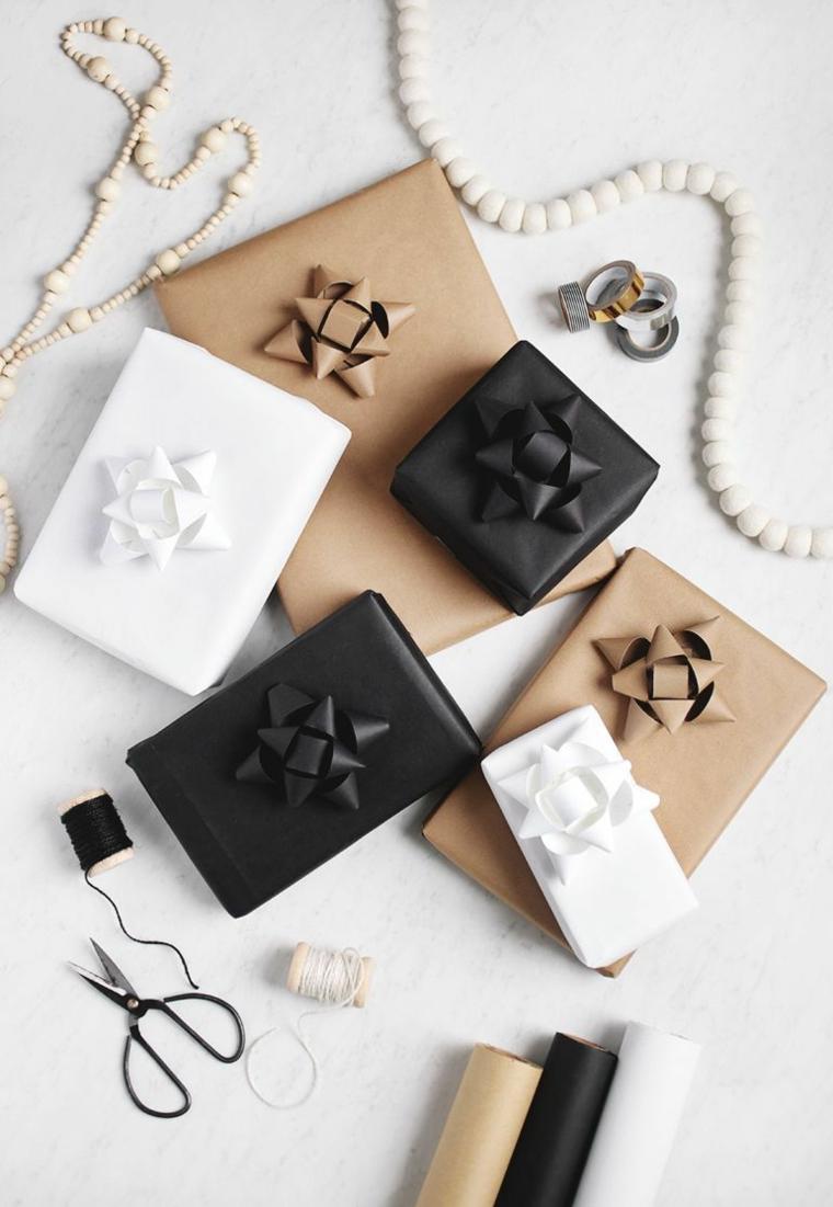 idee per incartare i regali in stile moderno decorare con fiocco dello stesso colore