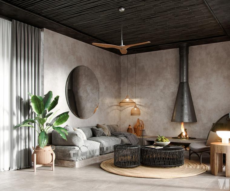 Pareti colorate soggiorno esempi, salotto con divano grigio, tavolini di metallo rotondi
