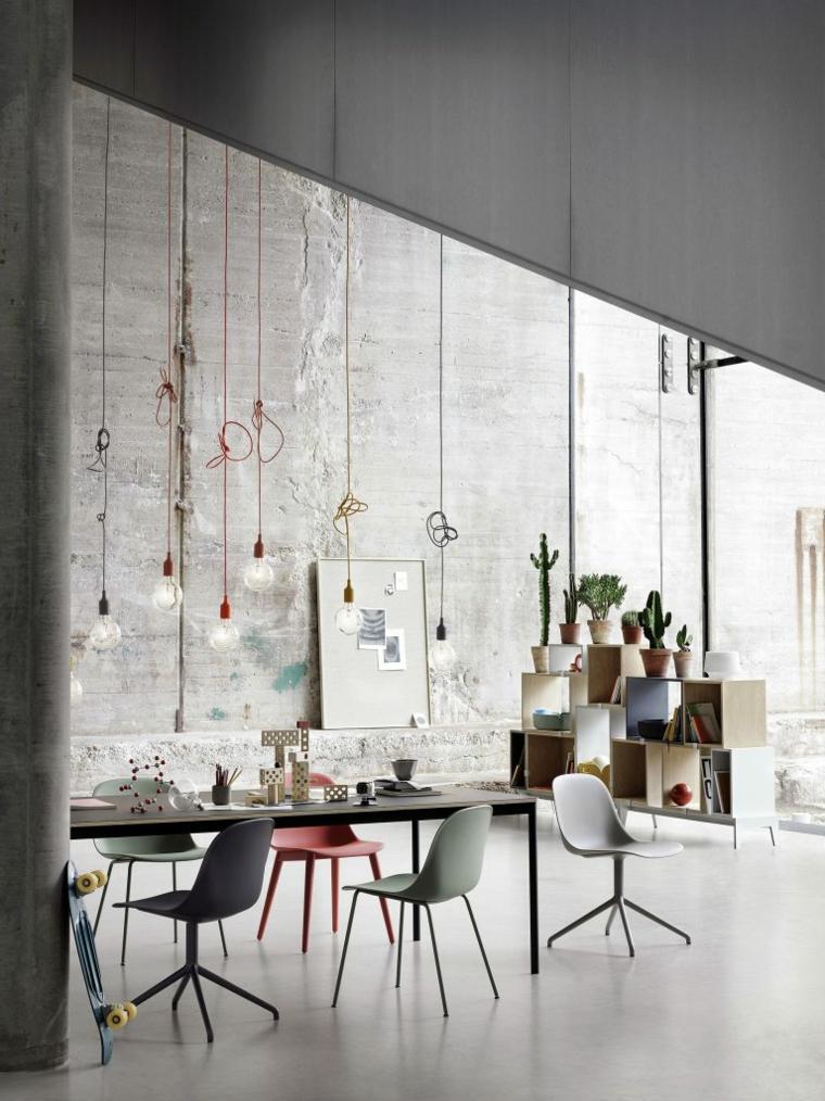 idee sala da pranzo moderna tavolo rettangolare lungo illuminazione con lampadine sospese
