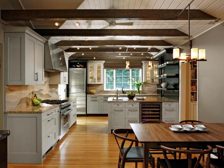 illuminazione travi a vista decorare cucina