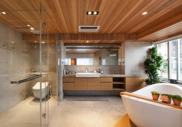 illumnazione tetto legno faretti led bagno moderno