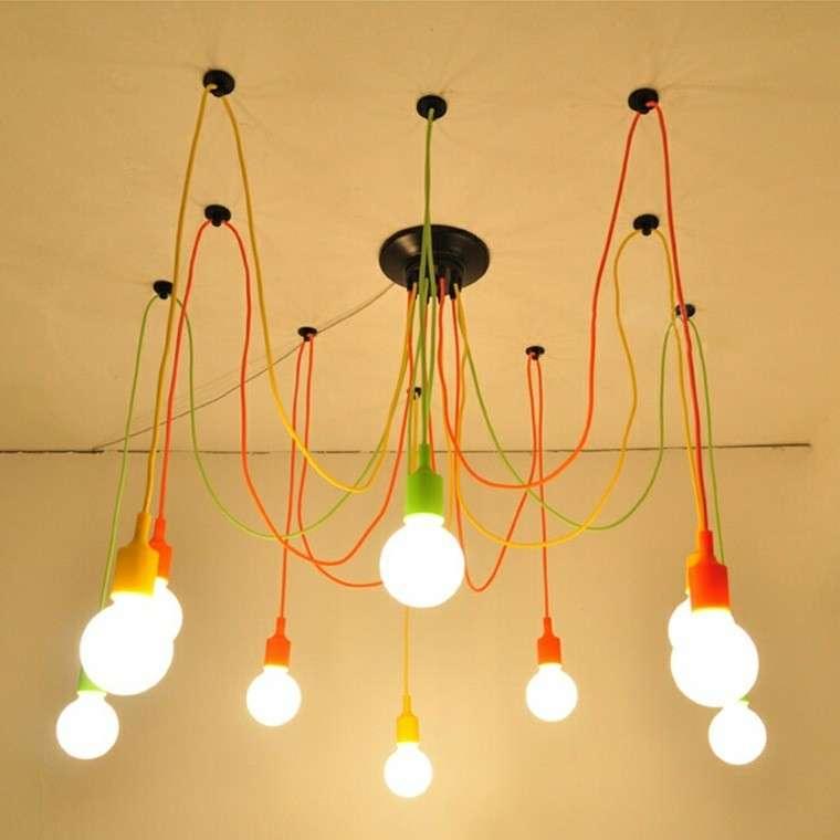 lampadario particolare economico fili colorati
