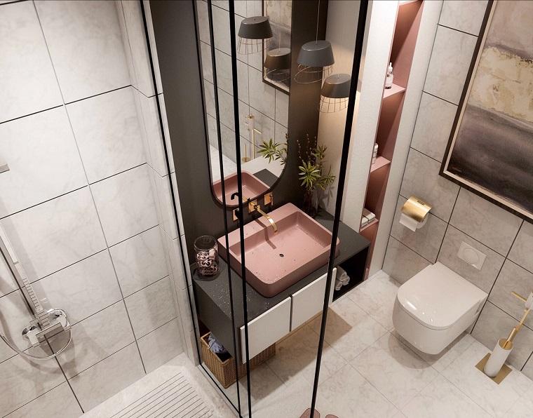 Mobile bagno con lavabo appoggio, piastrelle bagno colore bianco sporco, bagno con box doccia
