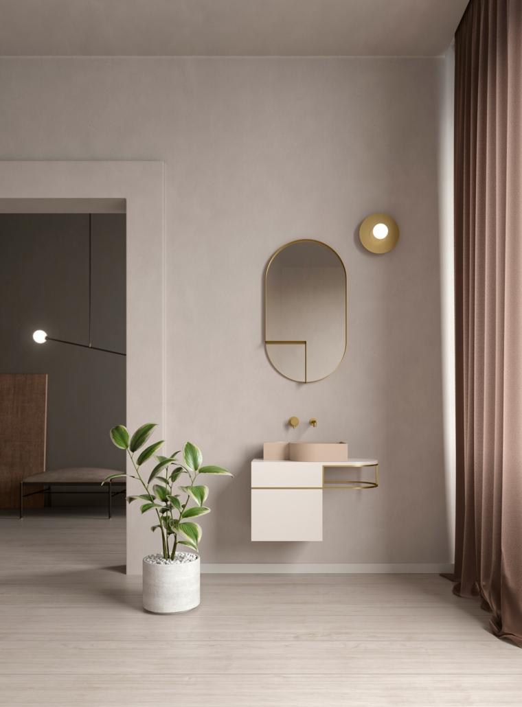 Arredo bagno, mobile bagno di metallo, lavandino rosa da appoggio, pavimento di legno