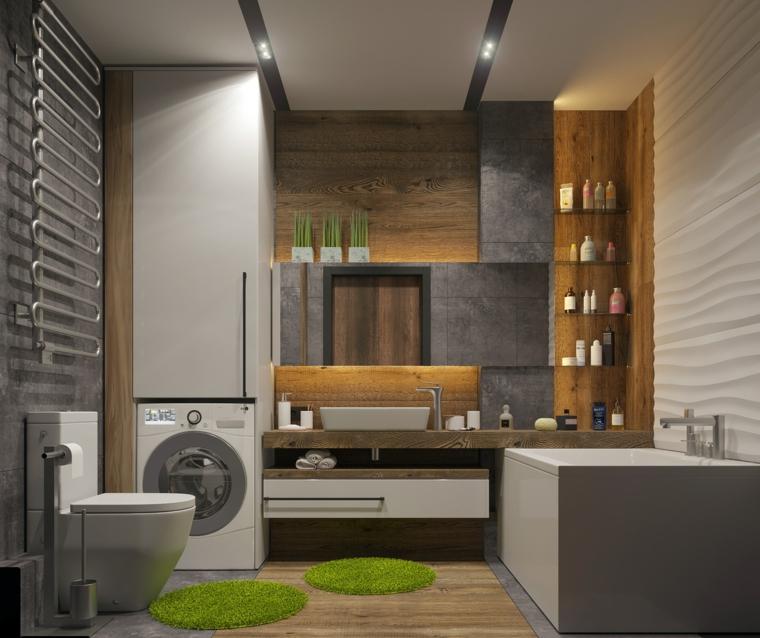 Rivestimenti bagni esempi, pavimento bagno di legno, mobile per lavatrice