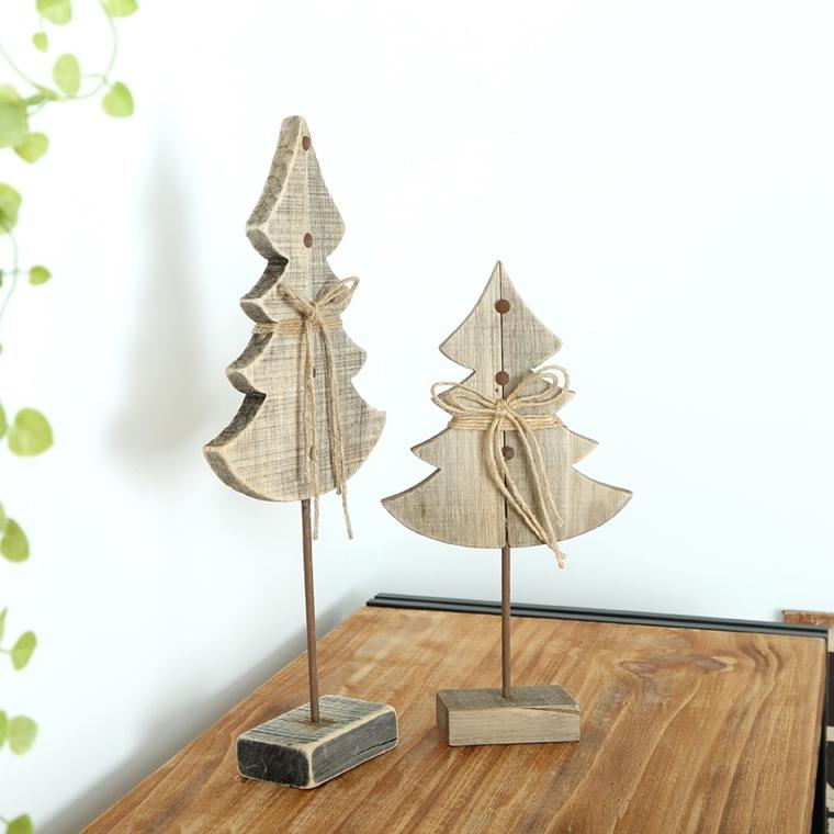 lavoretti di natale legno forma alberelli