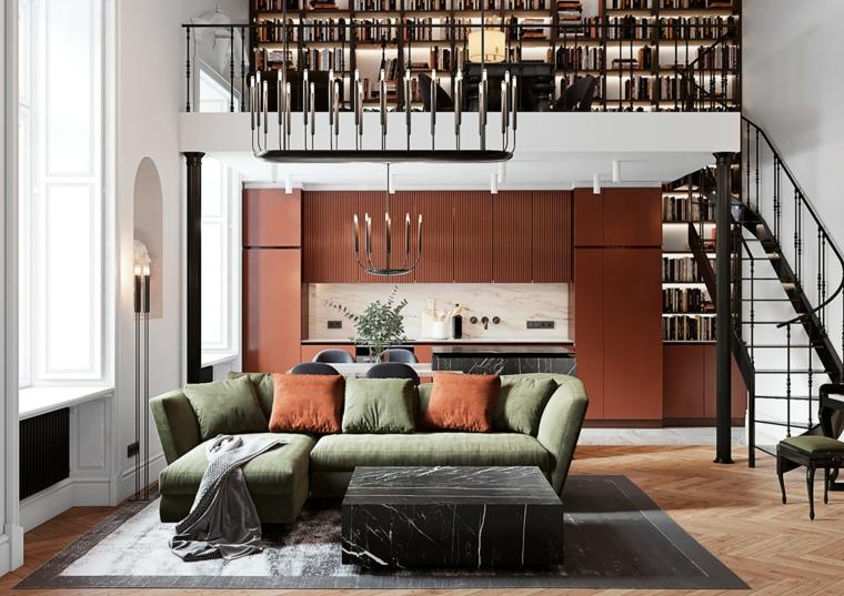 Mobili soggiorno componibili, un divano di colore verde, open space a due piani