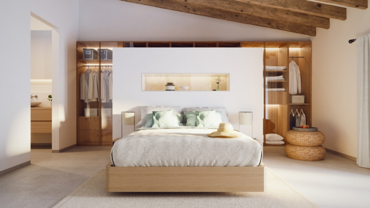Soffitto con travi di legno, armadio dietro il letto, pavimento in resina grigio, camere da letto matrimoniali moderne