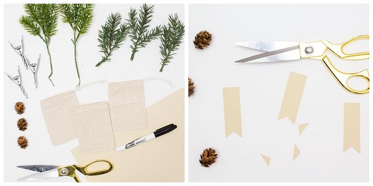 Decori natalizi, materiale per creare sacchettini, rametti verdi e fogliettini di carta tagliati