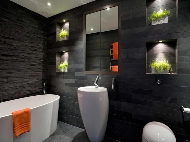 mobile bagno bianco parete nera