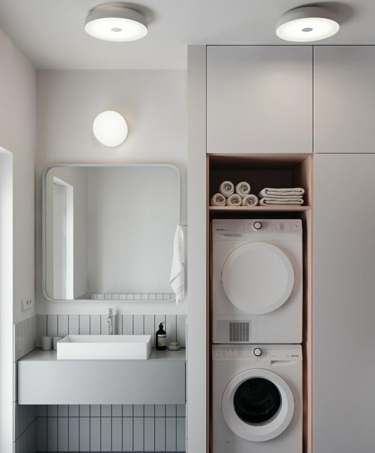 Mobile armadio con lavatrici, mobile lavabo da appoggio, lampade da soffitto