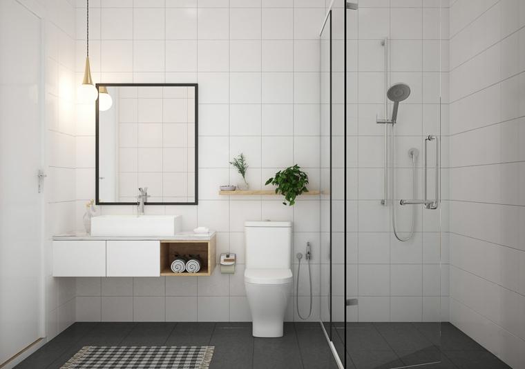 Mobile di legno con lavabo da appoggio, sala da bagno con box doccia, piastrelle bagno colore nero