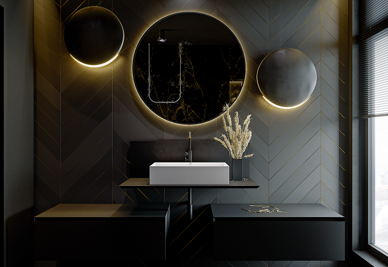 Specchio rotondo con retro illuminazione, Piastrelle bagni moderni, mobile lavabo da appoggio