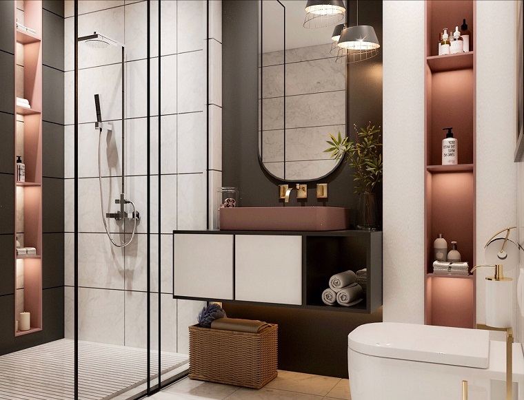 Arredo bagno moderno, mobile bagno con lavabo da appoggio, sala da bagno con bo doccia