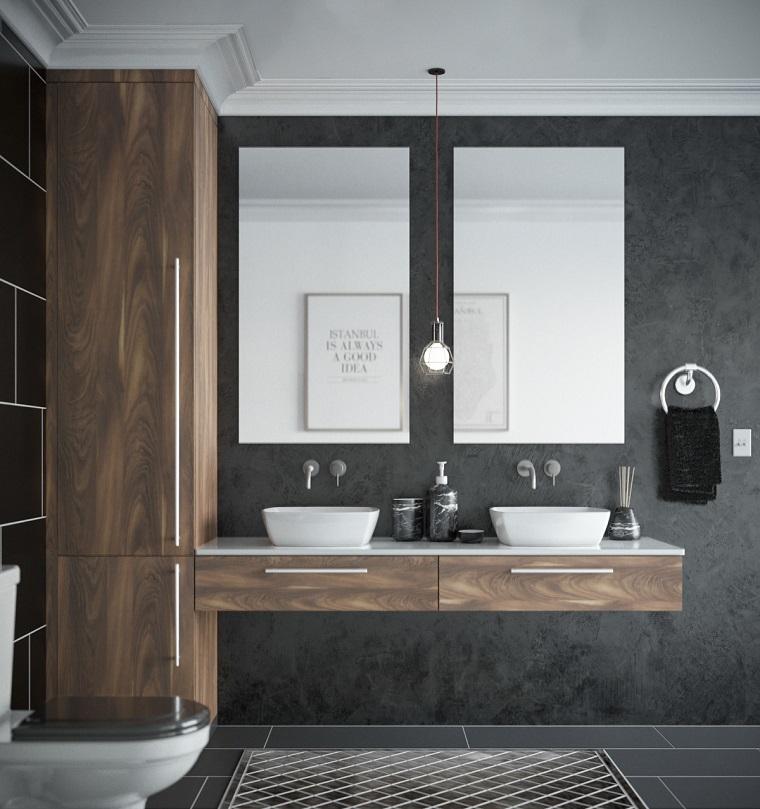Arredo bagno moderno, due lavabi da appoggio, arredo con colonna armadio in legno