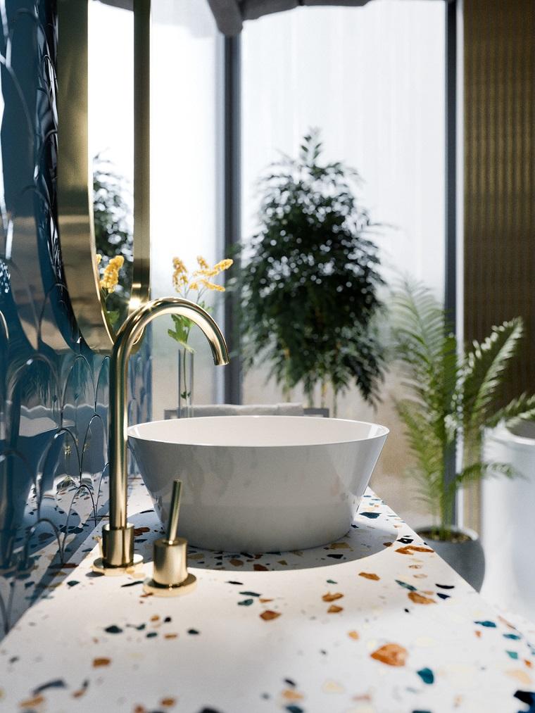 Mobili bagno moderni economici, lavabo da appoggio, rubinetteria di colore oro