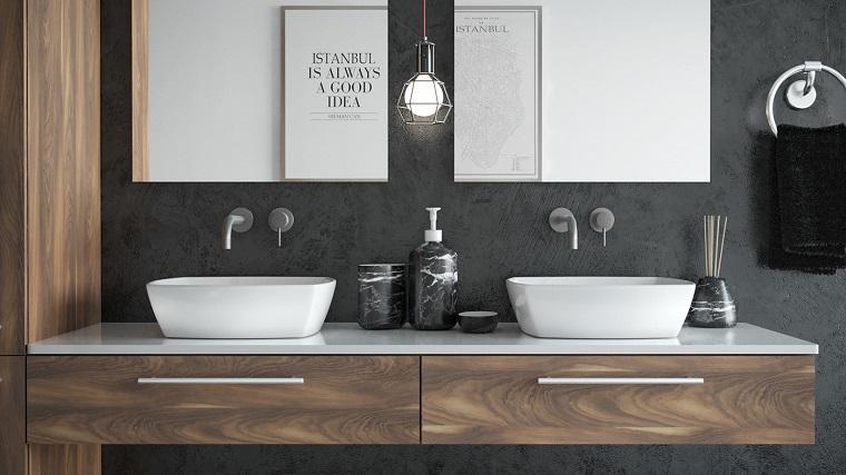 Rivestimenti bagni moderni immagini, mobile con due lavabi da appoggio, colonna armadio in legno