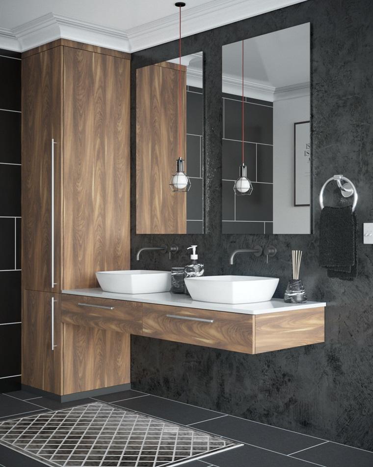 Rivestimenti bagni moderni immagini, mobile sospeso con due lavabi, parete con pannello colore nero