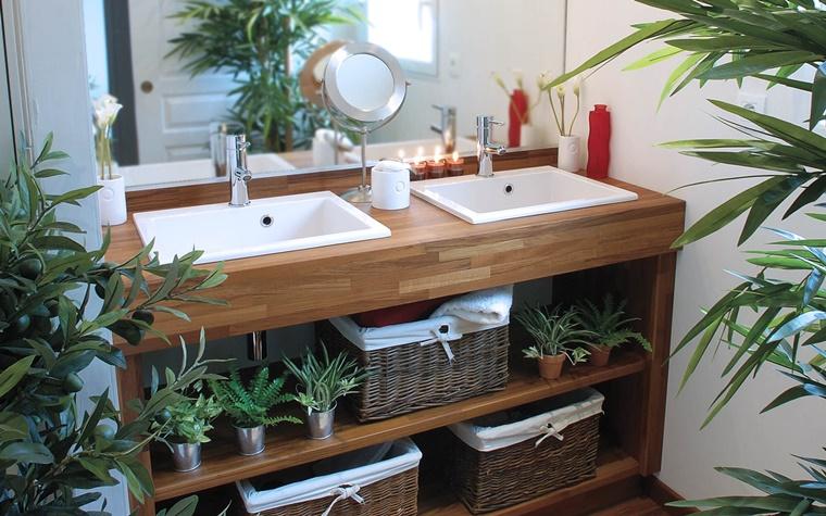 mobile bagno legno due lavabi ceramica
